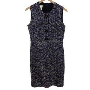 Cacharel Blue Metallic Multicolor Tweed Dress